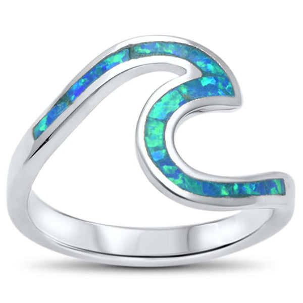 Wave Ocean Beach Blue Opal .925 Sterling Silver Ring sizes 4-13