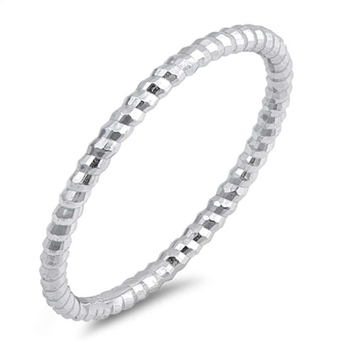 Thin Diamond Cut Stackable Ribbed Band .925 Sterling Silver Ring Sizes 2-10