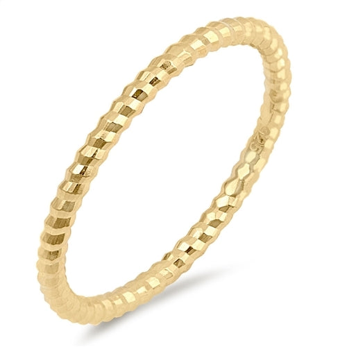 Yellow Gold Plated Thin Diamond Cut Stackable Ribbed Band .925 Sterling Silver Ring Sizes 2-10