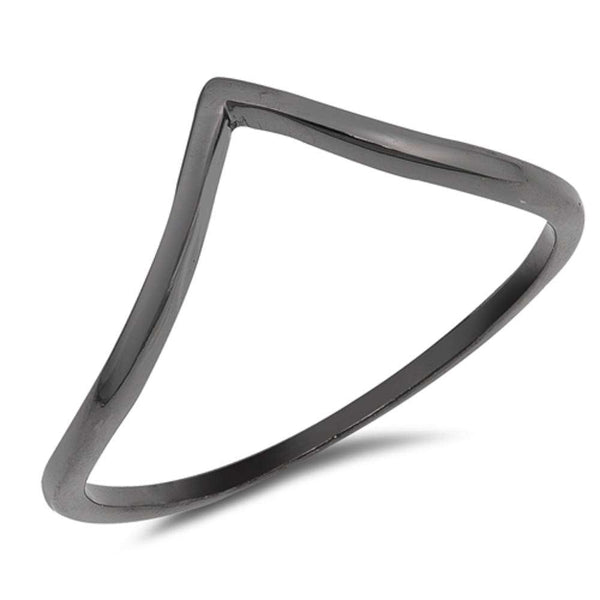 Stackable Plain Black V Shape Chevron Band .925 Sterling Silver Ring Sizes 4-10