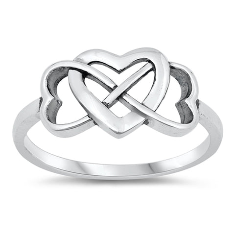 Sterling Silver Infinity Three Heart Ring sizes 4-10