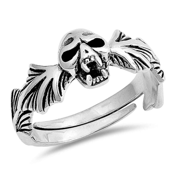 Men's Biker Skull .925 Sterling Silver Ring Sizes 5-10