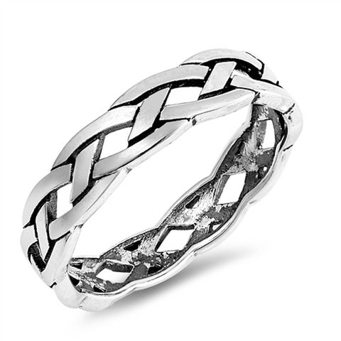 Plain Braided Infinity Band .925 Sterling Silver Ring Sizes 4-10