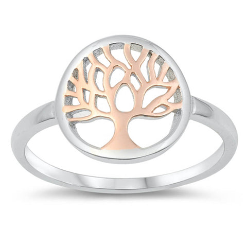 Two Tone Tree of Life .925 Sterling Silver Ring Sizes 4-10