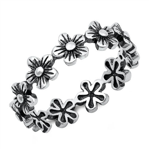 Plain Flower Design Band .925 Sterling Silver Ring Sizes 4-10