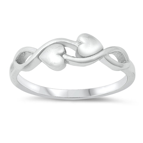 Sterling Silver Two Heart Infinity Ring sizes 4-10