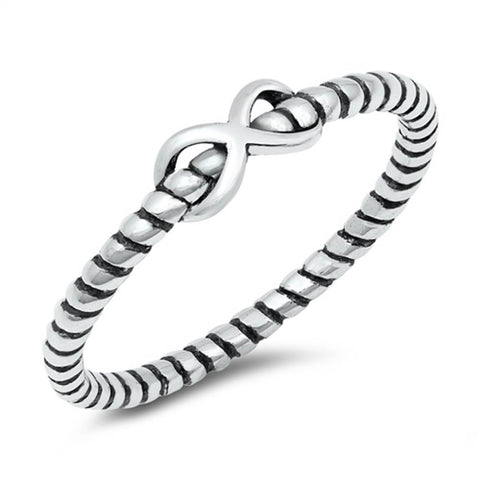 Plain Infinity Rope .925 Sterling Silver Ring Sizes 4-10