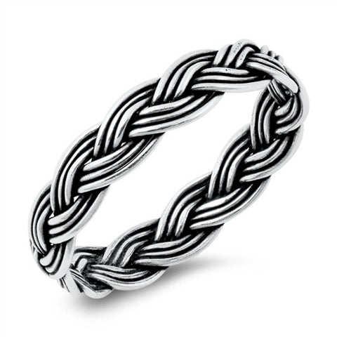 Plain Intertwined Rope .925 Sterling Silver Ring Sizes 4-10
