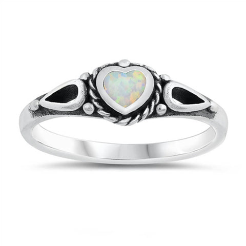 Heart White Opal Design .925 Sterling Silver Ring Sizes 6-10