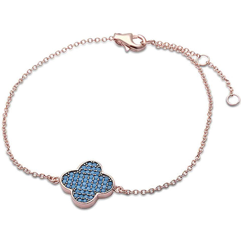 Rose Gold Open Four Leaf Nano turquoise  .925 Sterling Silver Bracelet
