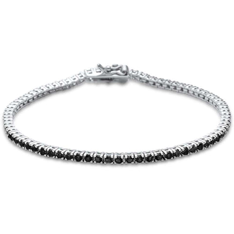 2.5MM ROUND 4 prong Tennis Black Onyx Cubic Zirconia  .925 Sterling Silver Bracelet 7.25