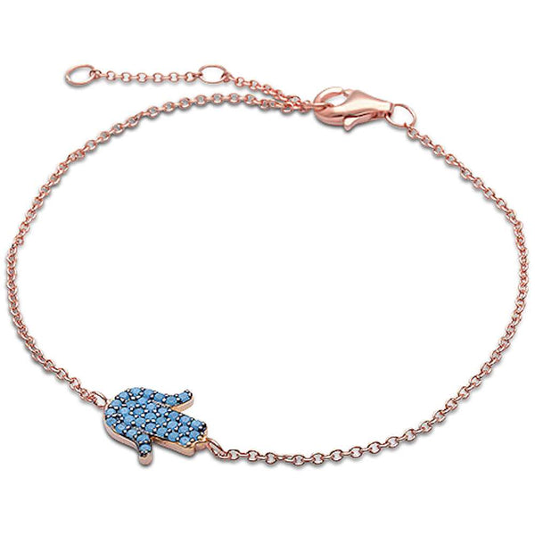 Rose Gold Turquoise Hamsa Symbol .925 Sterling Silver Adjustable Bracelet