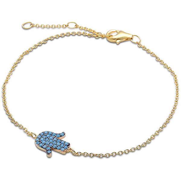 Yellow Gold Turquoise Hamsa Symbol .925 Sterling Silver Adjustable Bracelet