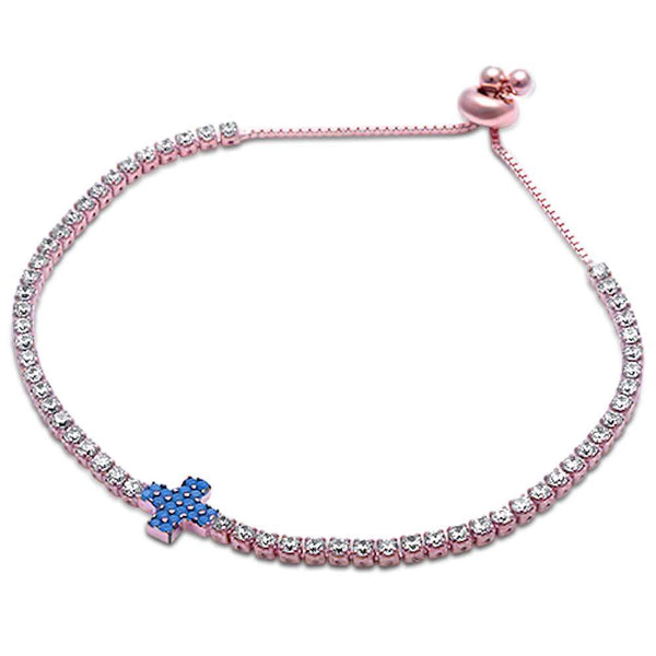 Rose Gold Plated Turquoise & Tennis Cz .925 Sterling Silver Adjustable Bracelet