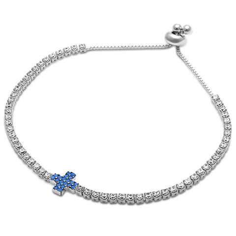 Nano Turquoise & Tennis Cz .925 Sterling Silver Adjustable Bracelet