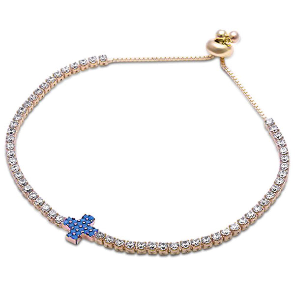 Yellow Gold Turquoise & Tennis Cz .925 Sterling Silver Adjustable Bracelet
