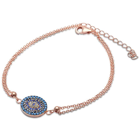Rose Gold Pltd Turquoise & Cz Evil Eye .925 Sterling Silver Adjustable Bracelet