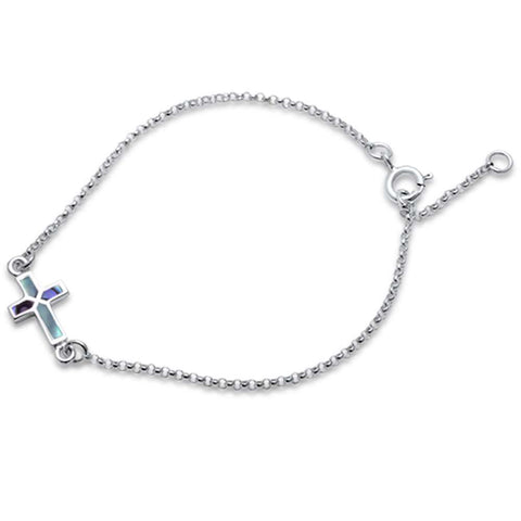 Trendy! Abalone Cross .925 Sterling Silver Bracelet 6.5