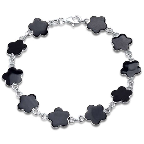 Black Onyx Shell Flower .925 Sterling Silver Bracelet 7