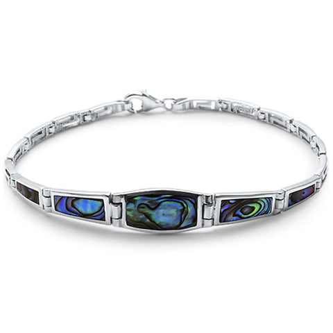 Simple Abalone Filigree  .925 Sterling Silver Bracelet