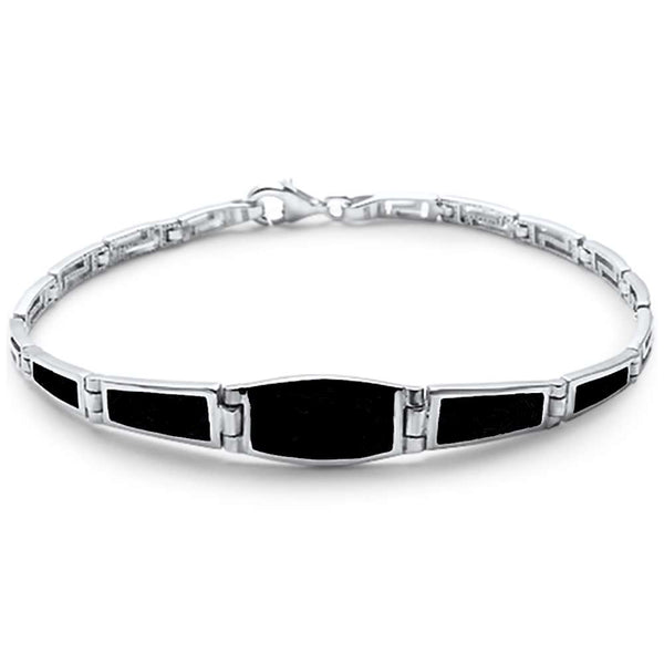 Simple Black Onyx Filigree  .925 Sterling Silver Bracelet