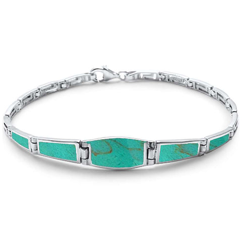 Simple Turquoise Filigree  .925 Sterling Silver Bracelet