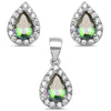 Pear Shape Rainbow Topaz & Cz Earring & Pendant .925 Sterling Silver Set