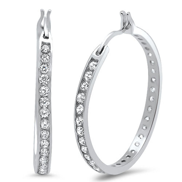 30mm Round Cubic Zirconia Hoop .925 Sterling Silver Earrings