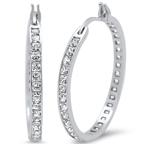 30mm Princess Cut Cubic Zirconia Hoop .925 Sterling Silver Earrings
