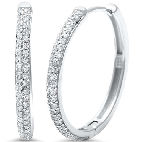Micro Pave Cubic Zirconia Hoop .925 Sterling Silver Earring
