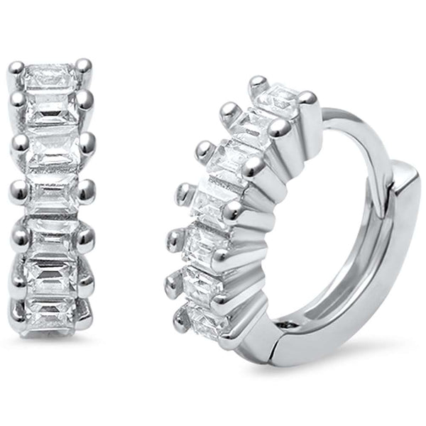 Petite Round Baguette CZ .925 Sterling Silver Hoop Huggie Earrings