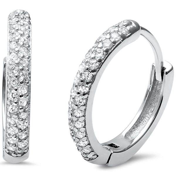 Round Micro Pave .925 Sterling Silver Hoop Huggie Earrings