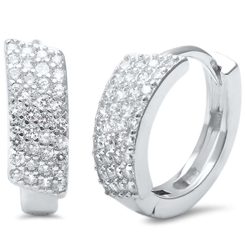 MicroPave Round CZ .925 Sterling Silver Hoop Huggie Earrings