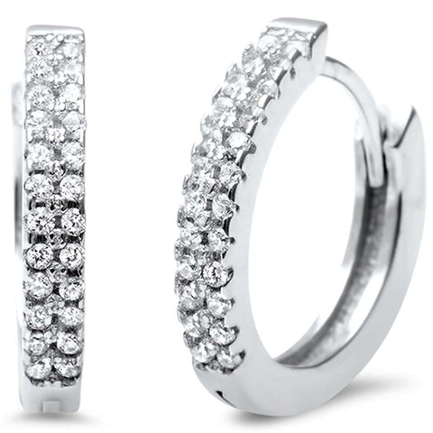 Elegant Round CZ .925 Sterling Silver Hoop Huggie Earrings