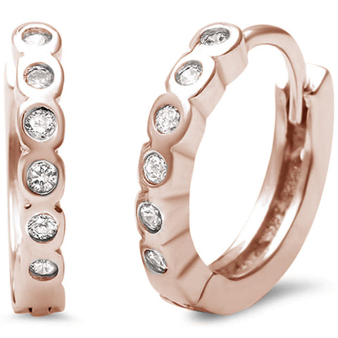 Rose Gold Plated Bezel Set Cz Hoop .925 Sterling Silver Earrings