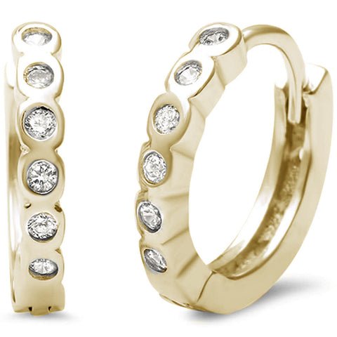Yellow Gold Plated Bezel Set Cz Hoop .925 Sterling Silver Earrings