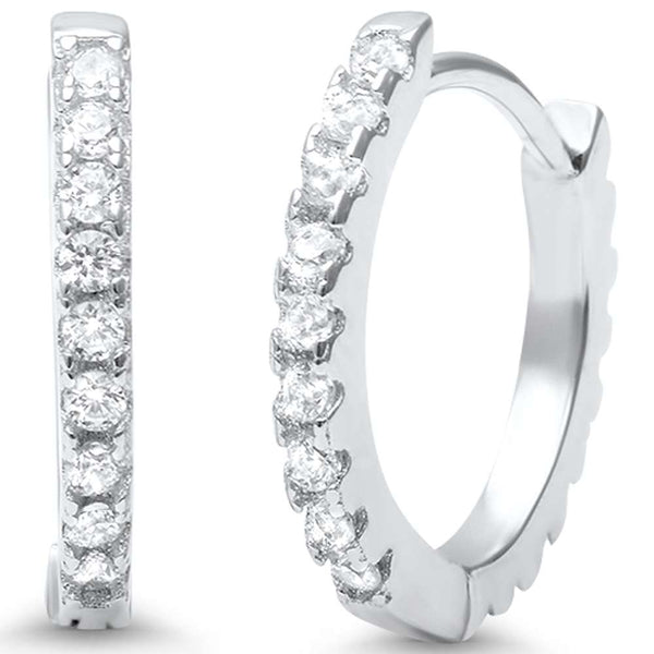Round CZ .925 Sterling Silver Hoop Earrings