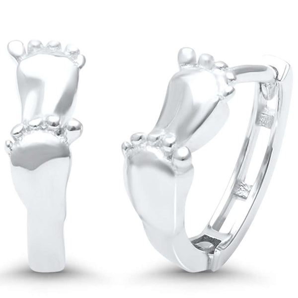 Baby Feet Design .925 Sterling Silver Hoop Huggie Earrings