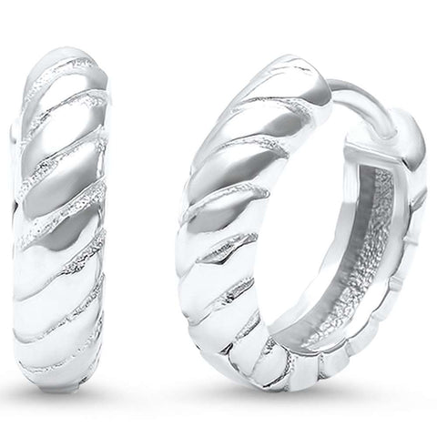 Braided .925 Sterling Silver Hoop Huggie Earrings