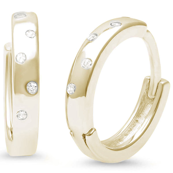 Yellow Gold Plated Cz Accent Hoop .925 Sterling Silver Earrings