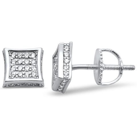 Square Micro Pave Cubic Zirconia .925 Sterling Silver Earring