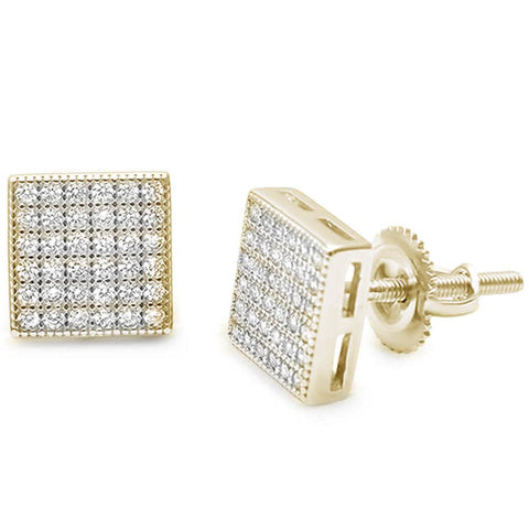 Square MircoPave Yellow Gold Plated Stud .925 Sterling Silver Earrings