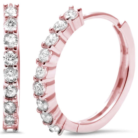 Rose Gold Plated Cubic Zirconia Round Hoop .925 Sterling Silver Earrings