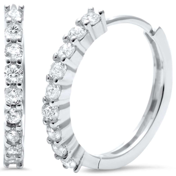 Cubic Zirconia Round Hoop .925 Sterling Silver Earrings
