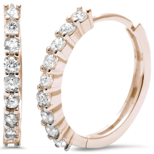Yellow Gold Plated Cubic Zirconia Round Hoop .925 Sterling Silver Earrings