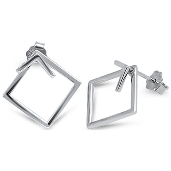 Plain Square Hoop .925 Sterling Silver Earrings