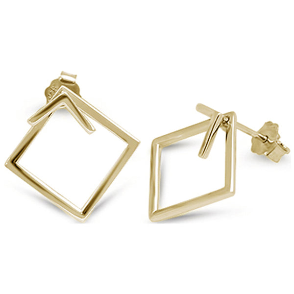 Yellow Gold Plated Square Hoop .925 Sterling Silver Earrings