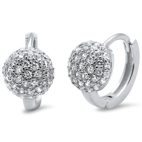 Micro Pave Cz Hoop .925 Sterling Silver Earring