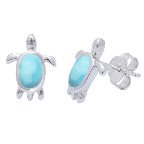 Natural Larimar Turtle .925 Sterling Silver Earrings