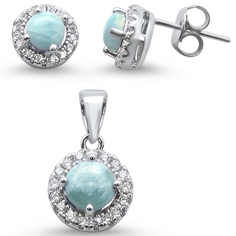 Elegant! Natural Larimar Halo .925 Sterling Silver Earring & Pendant Set